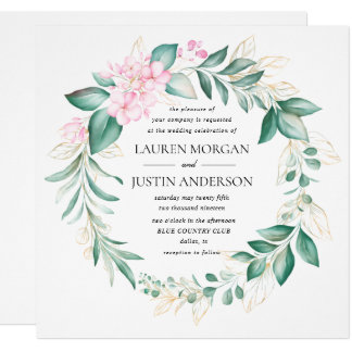 dusty green gold eucalyptus greenery wedding invitation