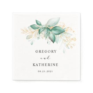 dusty green gold eucalyptus greenery wedding napkins