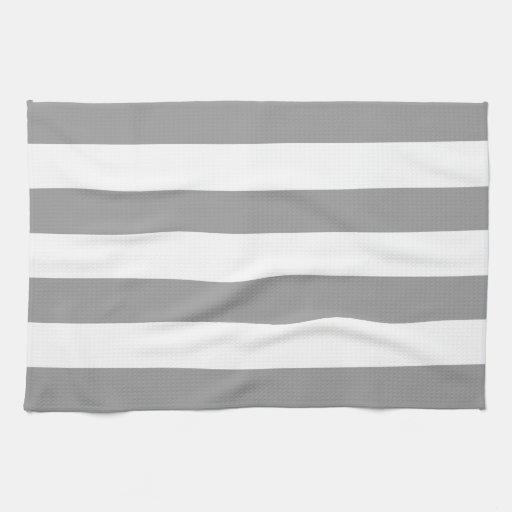 Dusty Grey Horizontal Stripes Hand Towels