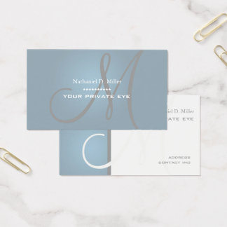 Dusty Grey Monogram Business Card