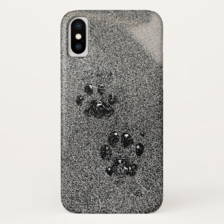 Dusty Grungy Cat Paw Pad Prints iPhone X Case