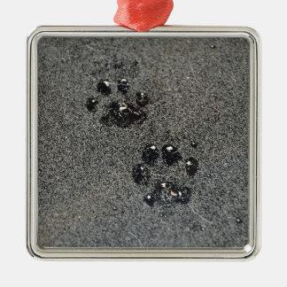 Dusty Grungy Cat Paw Pad Prints Metal Ornament