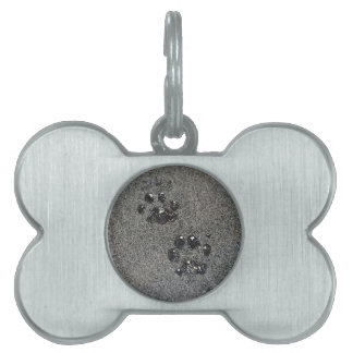 Dusty Grungy Cat Paw Pad Prints Pet Name Tag
