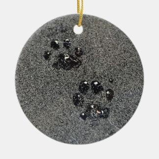 Dusty Grungy Cat Paw Prints Ceramic Ornament