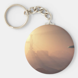 Dusty Landing on Mars Colonial Outpost Basic Round Button Keychain
