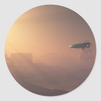 Dusty Landing on Mars Colonial Outpost Classic Round Sticker