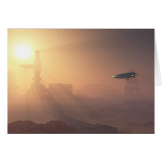 Dusty Landing on Mars Colony Greeting Card