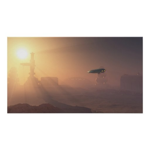 Dusty Landing on Mars Colony - Poster