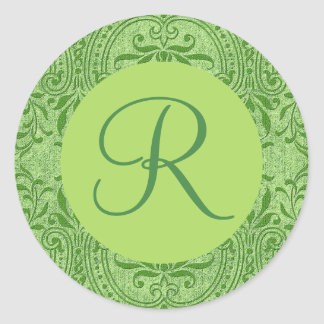 Dusty LIME GREEN Monogram  Damask Wedding V14 Classic Round Sticker