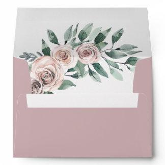 Dusty Mauve Boho Chic Rose Greenery Floral Wedding Envelope