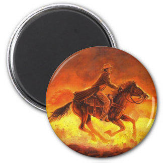 Dusty Morning Roundup 2 Inch Round Magnet