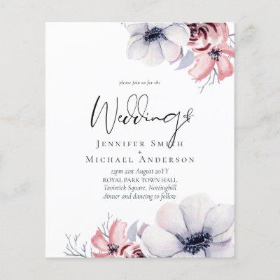 Dusty Navy Blue Coral Floral Script Wedding Budget