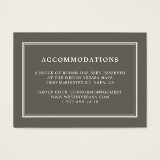 Dusty Olive Wedding Hotel Accommodation Cards