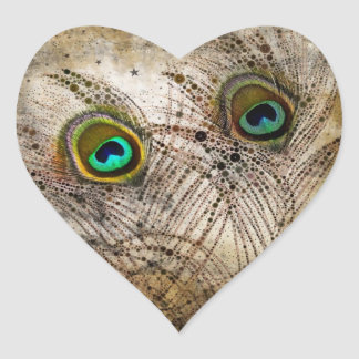 Dusty Peacock Feathers Heart Stickers