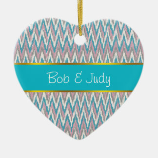 Dusty Pink and Blue  iKat Ceramic Ornament