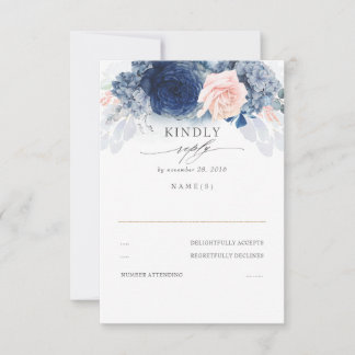Dusty Pink and Navy Blue Wedding RSVP