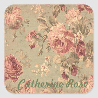 Dusty Pink and Sage Green Roses Personalized Square Sticker