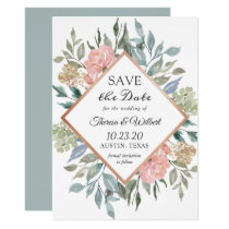 Dusty Pink Blue Foliage Floral Save the Date Card