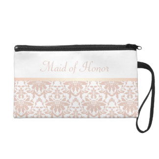 Dusty Pink Chandelier Damask Maid of Honor Wristlet Purse