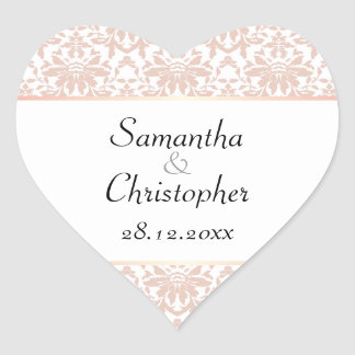 Dusty Pink Chandelier Damask on White Wedding Heart Sticker