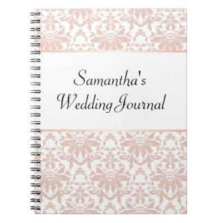 Dusty Pink Chandelier Damask on White Wedding Spiral Notebook