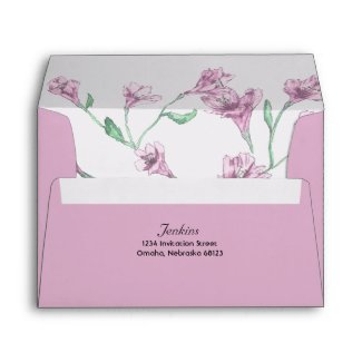 Dusty Pink Clematis Watercolor Floral Wedding Envelope
