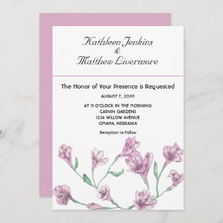 Dusty Pink Clematis Watercolor Floral Wedding Invitation