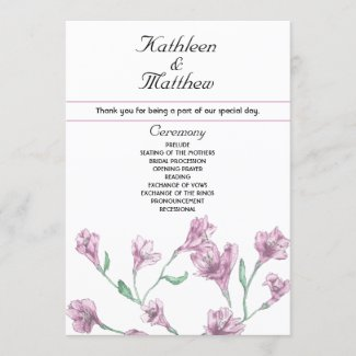 Dusty Pink Clematis Watercolor Floral Wedding Program