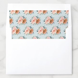 Dusty Pink Coral Peach Roses Botanical Floral Envelope Liner