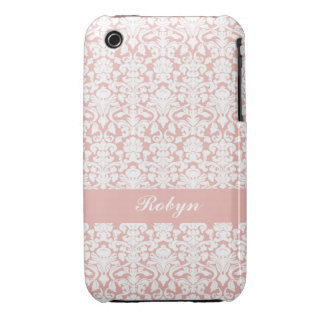 Dusty pink damask pattern custom name personal iPhone 3 cover