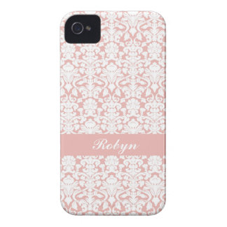 Dusty pink damask pattern custom name personal iPhone 4 case