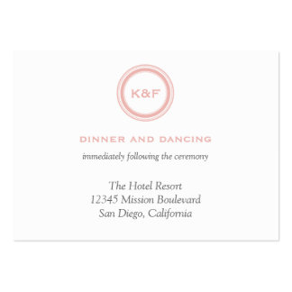 Dusty pink initials wedding reception enclosure business card templates