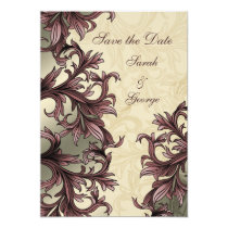 dusty pink ivory Vintage Flourish Wedding Card