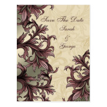 dusty pink ivory Vintage Flourish Wedding Postcard