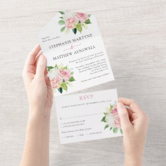 Dusty Pink Modern Floral Botanical Wedding All In One Invitation