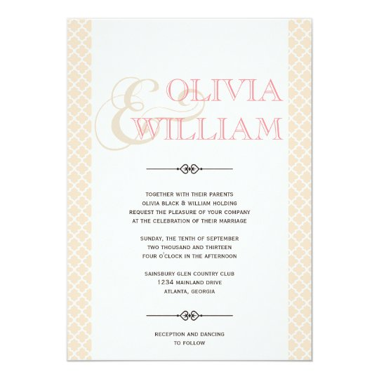 Dusty pink Moroccan tile ampersand modern wedding Card
