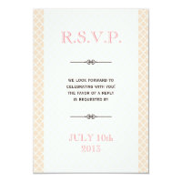 Dusty pink Moroccan tile ampersand wedding rsvp 3.5x5 Paper Invitation Card (<em>$2.60</em>)