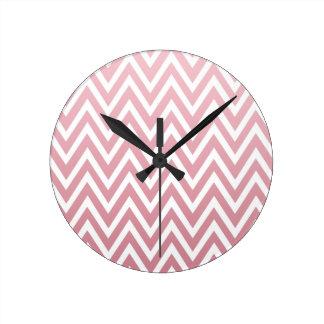 Dusty pink ombre chevron zigzag stripes clock