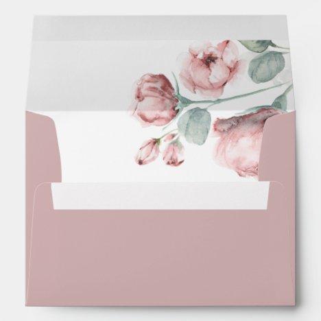 Dusty Pink Rose Flowers Elegant Romantic Envelope