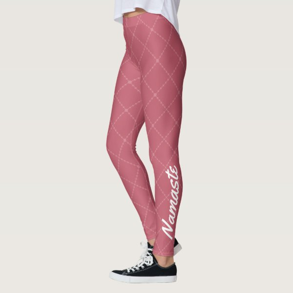 Dusty Pink stylised diamond shape with Namaste Leggings