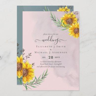 Dusty Pink Sunflowers Rustic Boho Wedding