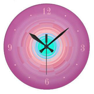 Dusty Pink Swirl/ Aqua Green Centre> Wall Clock