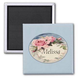 Dusty Pink Vintage Rose Leaf Wreath Monogram 2 Inch Square Magnet