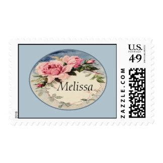 Dusty Pink Vintage Rose Leaf Wreath Monogram Postage