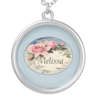 Dusty Pink Vintage Rose Leaf Wreath Monogram Silver Plated Necklace