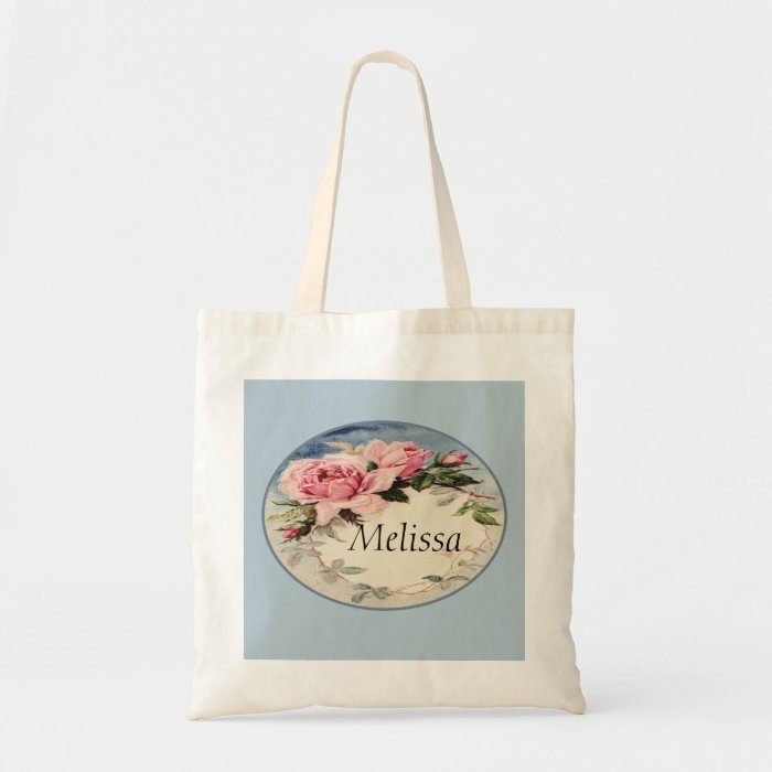 Dusty Pink Vintage Rose Leaf Wreath Monogram Tote Bag