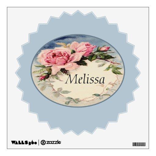 Dusty Pink Vintage Rose Leaf Wreath Monogram Wall Sticker
