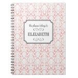 Dusty pink white damask wedding planner journal notebook