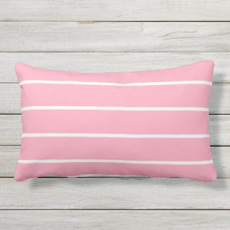 Dusty Pink White Stripe Lumbar Outdoor Pillow