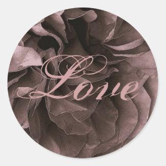 DUSTY PLUM Frilly Rose LOVE Wedding Envelope Seal Classic Round Sticker